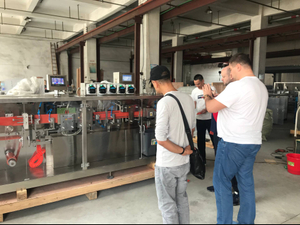Russia customer visiting and checking olive oil plastic ampoule forming filling sealing machine in the factory